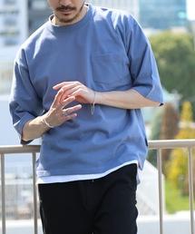 肉厚でヘタらないヘビロテ確実Tシャツ ボックスシルエット ユニセックスサイジング ポケット付き ヘビーウェイト5分袖Tシャツカットソーブルー系その他