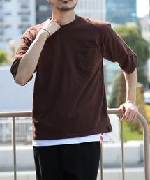 肉厚でヘタらないヘビロテ確実Tシャツ ボックスシルエット ユニセックスサイジング ポケット付き ヘビーウェイト5分袖Tシャツカットソーブラウン