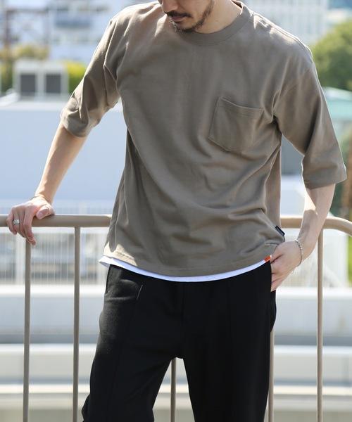 肉厚でヘタらないヘビロテ確実Tシャツ ボックスシルエット ユニセックスサイジング ポケット付き ヘビーウェイト5分袖Tシャツカットソー