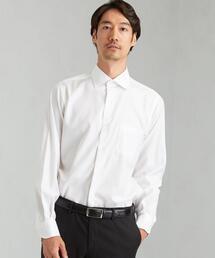 スリム ヘリンボーン ショート ワイドカラー ドレスシャツ < 機能性 / イージーアイロン >