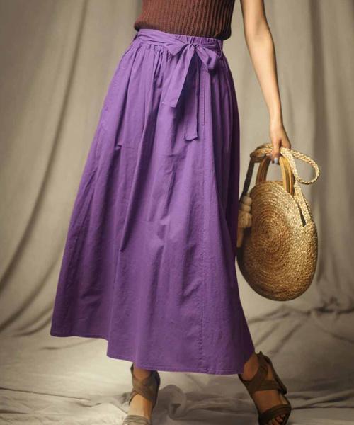 IEDIT(イディット)の「IEDIT コットンリネンのロングギャザースカート(スカート)」|パープル