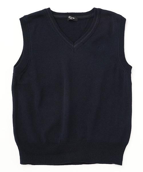 COMME CA ISM(コムサイズム)の「洗える ニット ベスト(140-160サイズ)(ニット/セーター)」|ネイビー