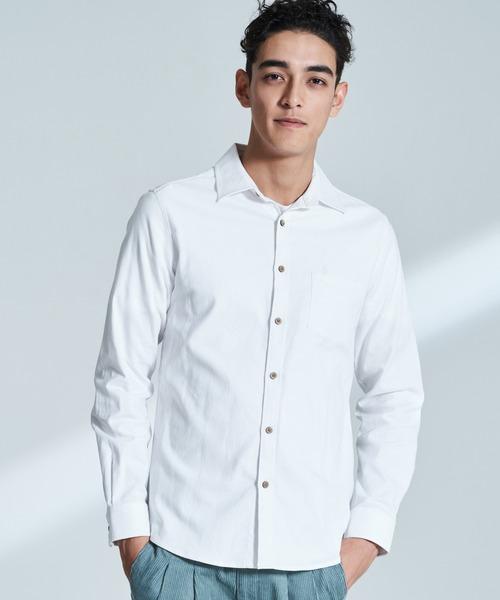COTTON×LINEN パナマ織り ストレッチ 長袖 綿麻シャツ