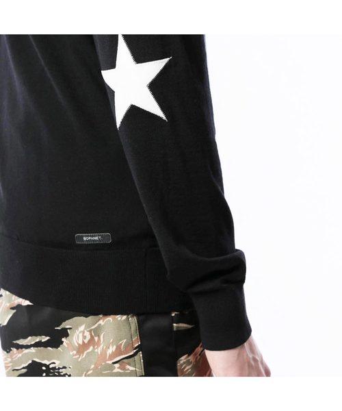 STAR ELBOW PATCH CREW NECK KNIT