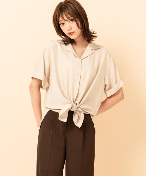裾結び開襟シャツ