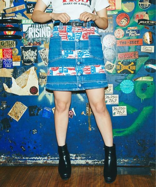 SHA-LA-LA総柄ストレッチデニムスクラッチミニスカート
