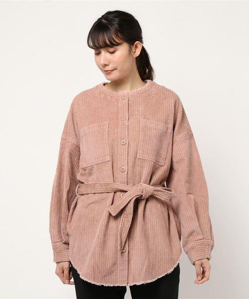 ランダムコーデュロイノーカラーシャツジャケット