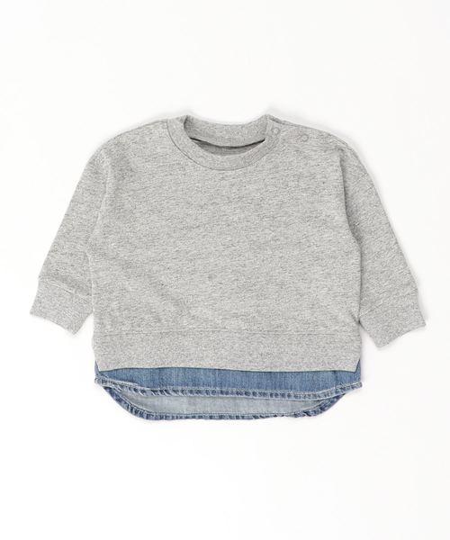 Ocean&Ground(オーシャン&グラウンド)の「DENIM LAYERED T(80〜140cm)(Tシャツ/カットソー)」|グレー