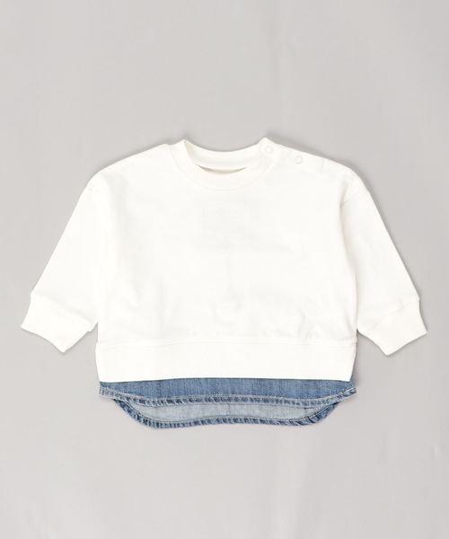 Ocean&Ground(オーシャン&グラウンド)の「DENIM LAYERED T(80〜140cm)(Tシャツ/カットソー)」 オフホワイト