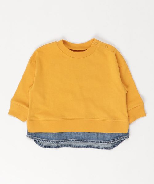 Ocean&Ground(オーシャン&グラウンド)の「DENIM LAYERED T(80〜140cm)(Tシャツ/カットソー)」|イエロー