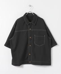 SENSE OF PLACE by URBAN RESEARCH(センスオブプレイスバイアーバンリサーチ)のステッチアウトルーズシャツ(5分袖)(シャツ/ブラウス)