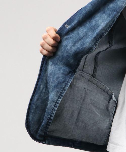 セマンティックデザイン/semantic design  斑加工デニムジャージ7分袖ブルージャケット