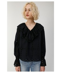 MOUSSY(マウジー)のCOTTON LACE RUFFLE BLOUSE(Tシャツ/カットソー)