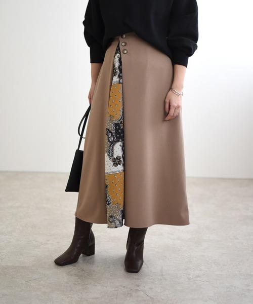 スリットペイズリーフレアスカート