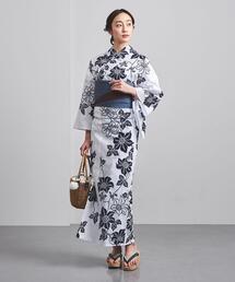 <竺仙(ちくせん)>鉄線 綿絽白地 浴衣