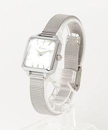 Three Four Time(スリーフォータイム)のカットガラススクエアメッシュベルト(腕時計)