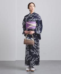 <竺仙(ちくせん)>萩 綿絽地染 紺 浴衣