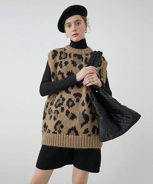 【Fano Studios】Leopard knit vest FC19S146
