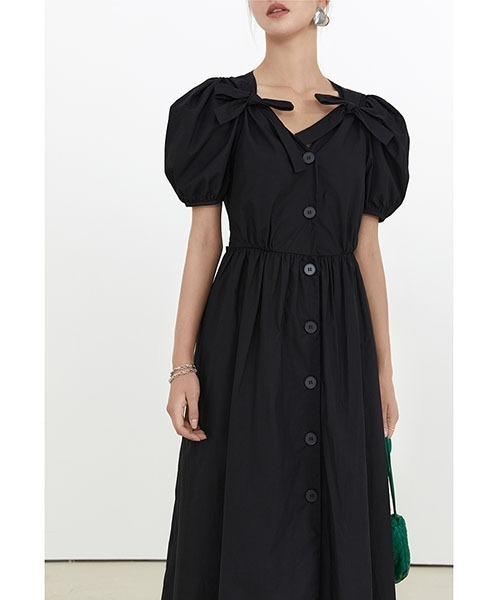 【Fano Studios】【2021SS】Ribbon v neck mid length dress FX21L145