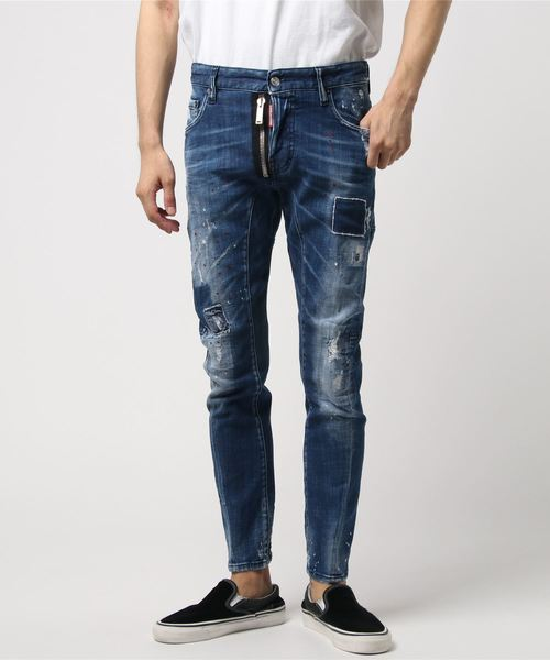 Pants 5 Pockts /Tidy biker jean /Square patch light wash /0182