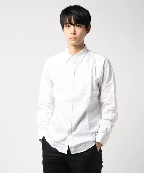 綿100オックスドットプリントBDシャツ