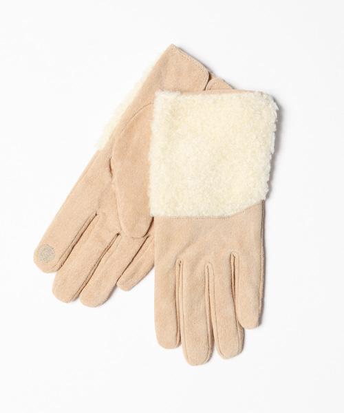 collex(コレックス)の「ボアスウェードグローブ(手袋)」|ベージュ