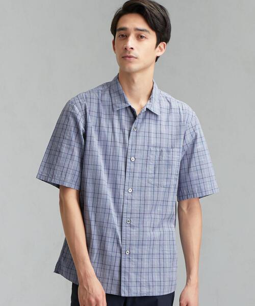 CM ドライコットン チェック ワイド 半袖 シャツ