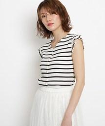 AG by aquagirl(エージー バイ アクアガール)の【2WAY】【洗える】テレコスカラボタンカットソー(Tシャツ/カットソー)