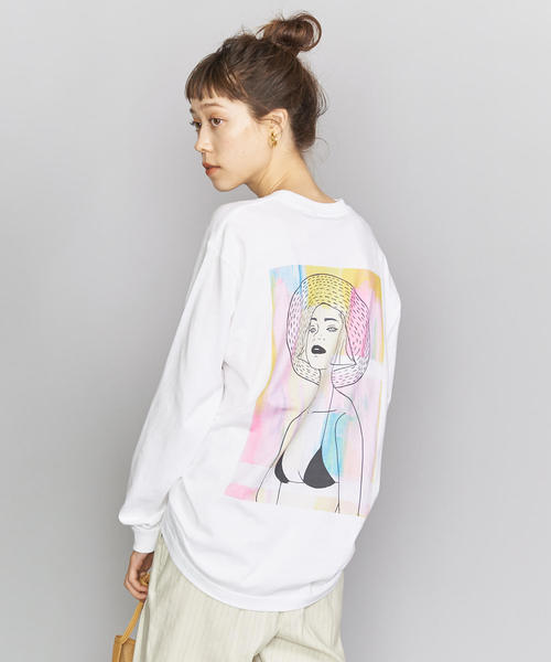 【別注】<maegamimami>GIRL ロングスリーブTシャツ