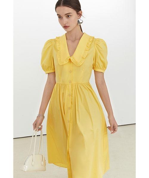 【Fano Studios】【2021SS】Front button puff sleeve dress FX21L206