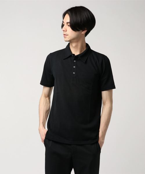 1 to 10 people(ワントゥテンピープル)の「1to10 people Select/ワントゥテンピープルセレクト/ドライ鹿の子 ポロシャツ(ポロシャツ)」|ブラック
