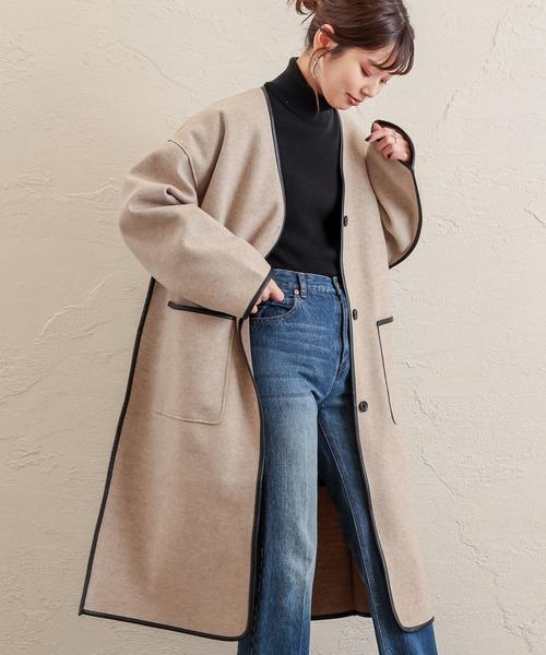 natural couture(ナチュラルクチュール)の「キルトライナー付きパイピングコート(その他アウター)」|ベージュ