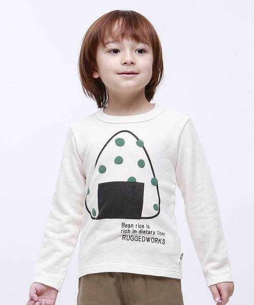キッズ ミニ裏毛無地 おにぎり豆プリントロングTシャツ