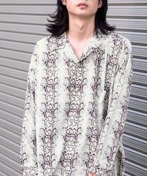 ドレープ リラックス アソート柄オープンカラーシャツホワイト系その他2
