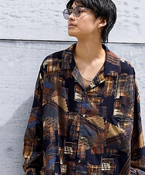 ドレープ リラックス オープンカラーシャツ(幾何学/レトロ/ペイズリー/パイソン/和柄)