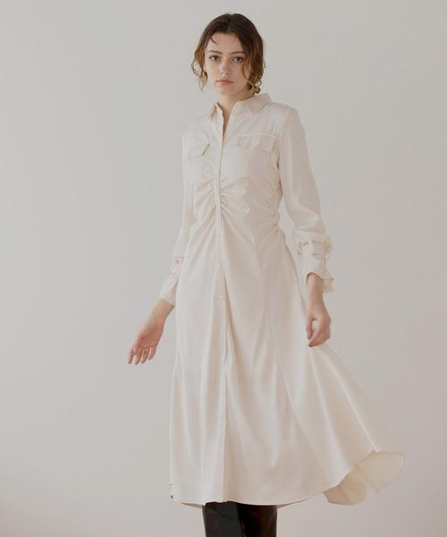 Satin Gloss Shirt Dress