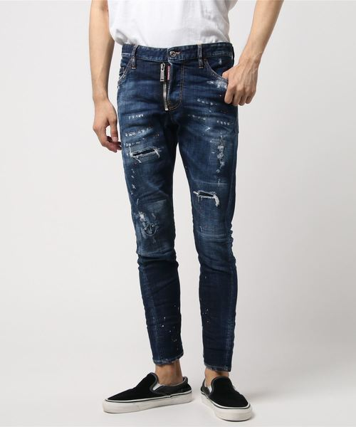 DSQUARED2(ディースクエアード)の「Pamts 5 pants /Sexy twist jean /Medium super ripped paint spots wash /0182(デニムパンツ)」|ネイビー