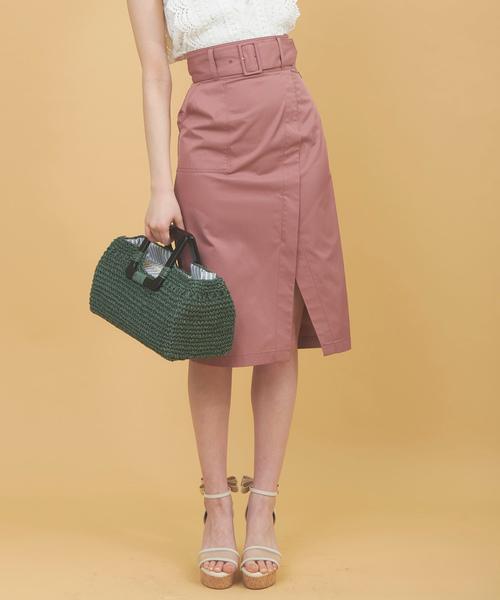 31 Sons de mode(トランテアン ソン ドゥ モード)の「ベルト付きスリットチノスカート(スカート)」 ピンク