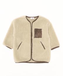 【&yam】パイピング付きノーカラーボアロングアウター/羽織り/コートブラウン