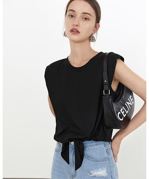 【Fano Studios】【2021SS】Power shoulder sleeveless T-shirt FX21S238