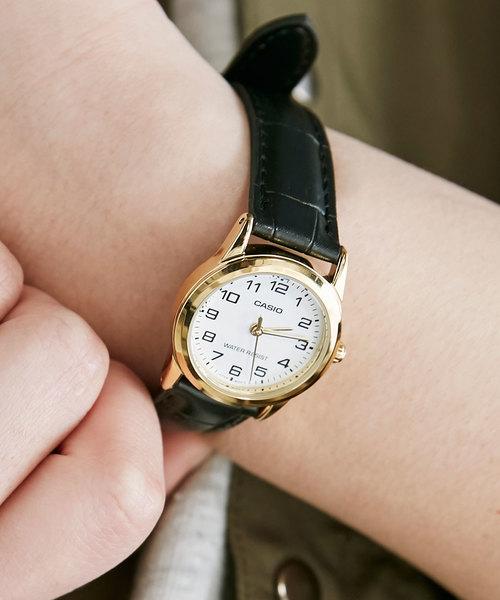 CASIO(カシオ)の「CASIO 腕時計レザー LTP-V001GL-7B LTP-V001GL-9B(腕時計)」|ブラック