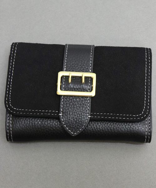 【牛革】ベルトフラップ異素材二つ折り財布