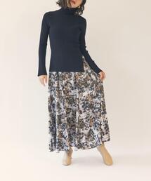 【EMMEL REFINES】【手洗可能】EM フラワープリント ボリュームスカート