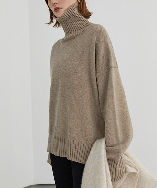 【Fano Studios】Turtleneck side slit knit FD20S062