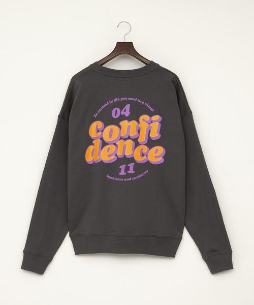ビッグシルエット ワンポイントロゴ刺繍&バックロゴデザイン プルオーバースウェット/confidence-2021S/S(EMMA CLOTHES)
