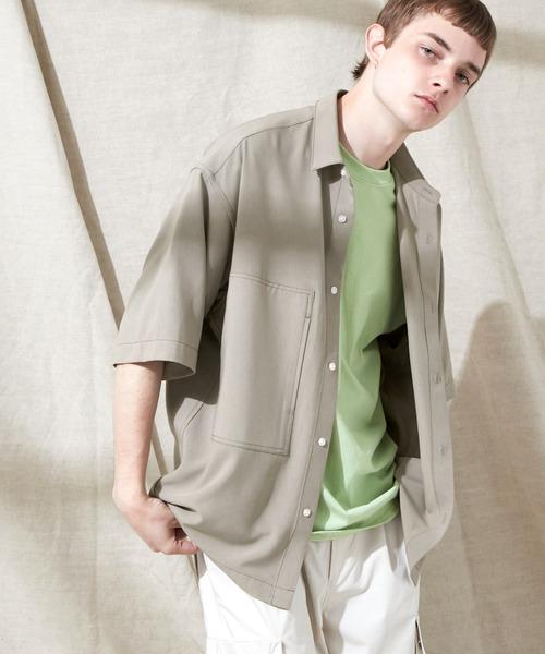 ブライトポプリン リラックス オーバーサイズ 鬼ステッチビッグWポケットレギュラーカラーCPOシャツ EMMA CLOTHES 2021 SUMMER