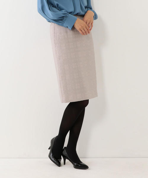 <closet story> □チェックジャガード タイトスカート -手洗い可能-