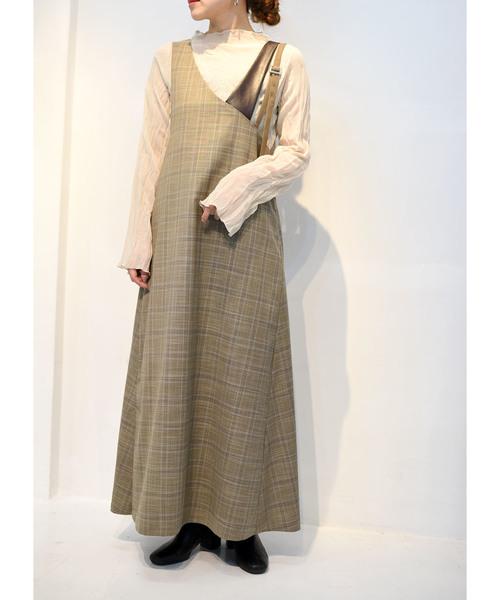 【Eimee Law】アシンメトリーショルダーチェックジャンパースカート
