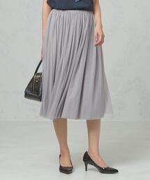 <ma couleur>ソフトチュール×サテン リバーシブル ギャザースカート