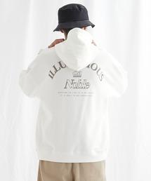 ビッグシルエット 裏毛 バックロゴデザインプルオーバーパーカー/ILLUSTRIOUS da Noble-2021SPRING(EMMA CLOTHES)オフホワイト
